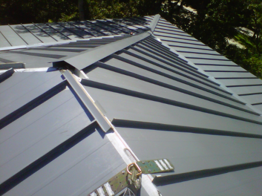 Standing Seam Metal Panel Roof in Progress - Key West